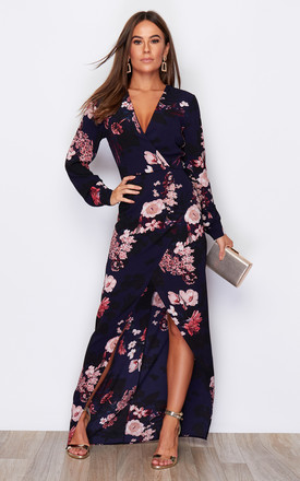 Letitia Split Wrap Maxi Dress Navy Floral Print by Girl In Mind Product photo