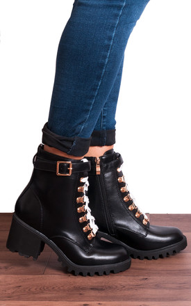 Black Hiking Chunky Buckle Block Heeled White Laces Ankle Boots by Shoe Closet