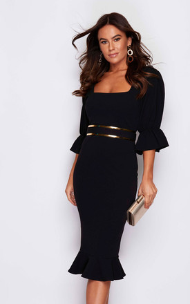 Dawn Square Neck Puff Sleeve Fishtail Hem Belted Midi Dress Black by Girl In Mind Product photo