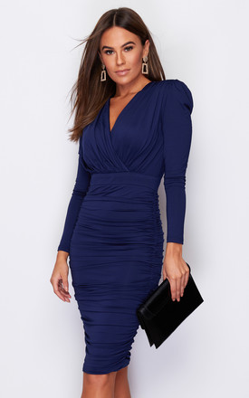 India Long Sleeve Ruched Midi Dress Navy by Girl In Mind Product photo