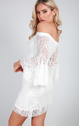 Off Shoulder Flare Sleeve Lace Dress in Ivory by Oops Fashion