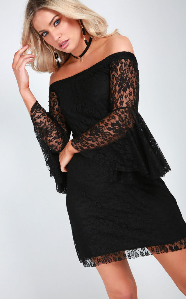 Off Shoulder Flare Sleeve Lace Dress in Black by Oops Fashion