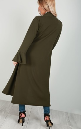 Frill Sleeve Midi Trench Jacket in Khaki by Oops Fashion