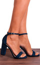 Navy Faux Suede Barely There High Heel Sandals by Shoe Closet