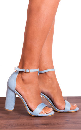 Baby Blue Barely There Peep Toes Strappy Sandals High Heels by Shoe Closet Product photo