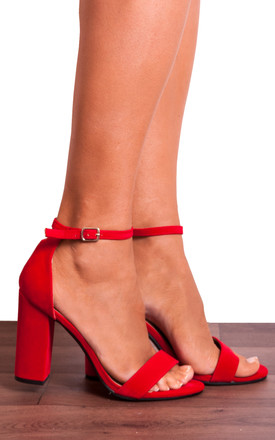 Bright Red Barely There Peep Toes Strappy Sandals High Heels by Shoe Closet Product photo