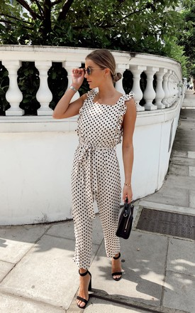 Effie Ruffle Jumpsuit   Polka Dot by Pretty Lavish Product photo