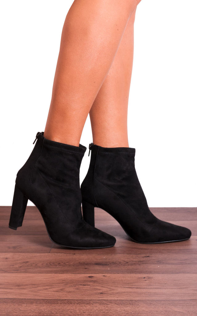 Black Block High Heeled Pointed Ankle Boots by Shoe Closet