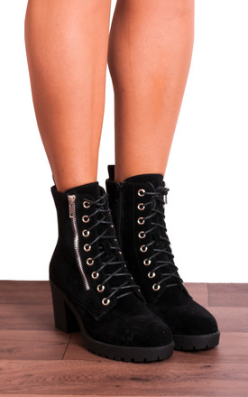 Black Faux Suede Zip Military Lace Ups Cleated Block High Heeled Ankle Boots by Shoe Closet