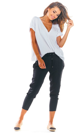 Slim Fit Cropped Trousers in Black by AWAMA
