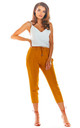 Slim Fit Cropped Trousers in Caramel by AWAMA