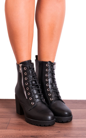 Black Faux Leather Zip Military Lace Ups Cleated Block High Heeled Ankle Boots by Shoe Closet Product photo