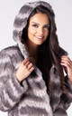 HOODED JACKET IN GREY CHINCHILLA FAUX FUR by Dursi