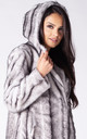 HOODED JACKET IN SILVER MINK FAUX FUR by Dursi