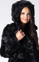 HOODED FAUX FOX FUR JACKET IN BLACK by Dursi