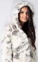 HOODED JACKET IN WHITE FOX FAUX FUR by Dursi
