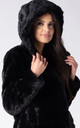 HOODED JACKET IN BLACK MINK FAUX FUR by Dursi