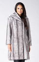 HOODED KNEE LENGTH COAT IN SILVER MINK FAUX FUR by Dursi
