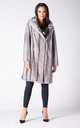 KNEE LENGTH COAT IN SILVER MINK FAUX FUR by Dursi