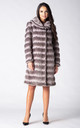 KNEE LENGTH COAT in GREY CHINCHILLA FAUX FUR by Dursi