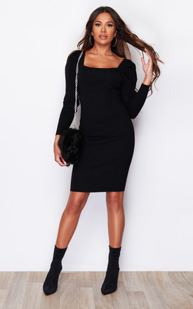 Kate Puff Sleeve Knit Jumper Dress Black by Girl In Mind