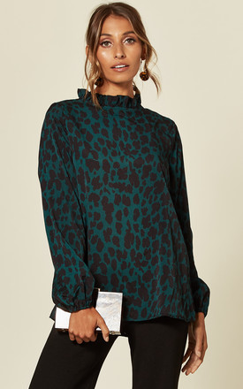 Long Sleeve Top In Green Leopard Print by AX Paris Product photo