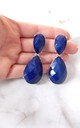 Navy Blue Teardrop Earrings by Olivia Divine Jewellery