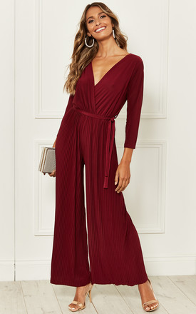 Wrap Jumpsuit with Pleated Wide Leg in Burgundy by Bella and Blue