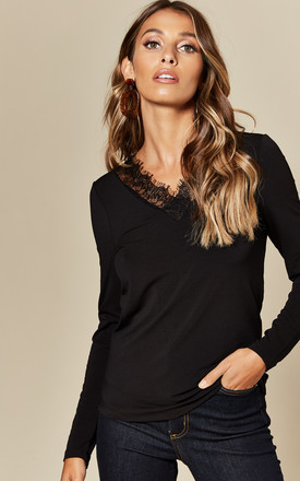 V Neck Top With Lace Trim In Black by VM Product photo