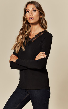 V Neck Top with Lace Trim in Black by VM
