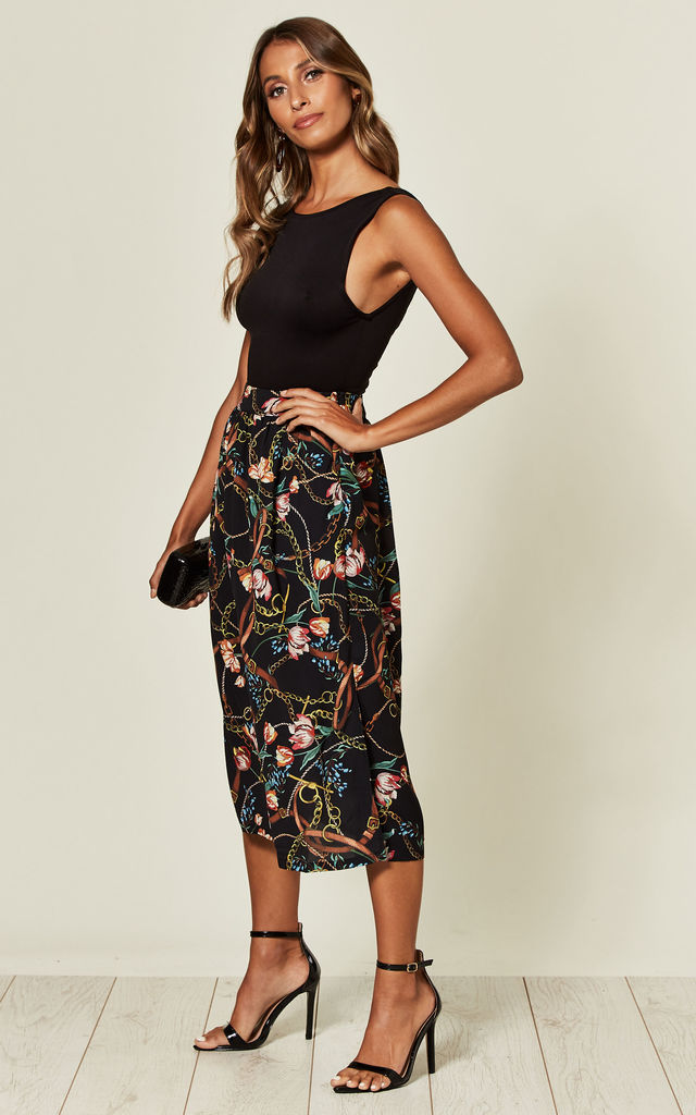 Midi Skirt in Black Chain & Floral Print by Yumi