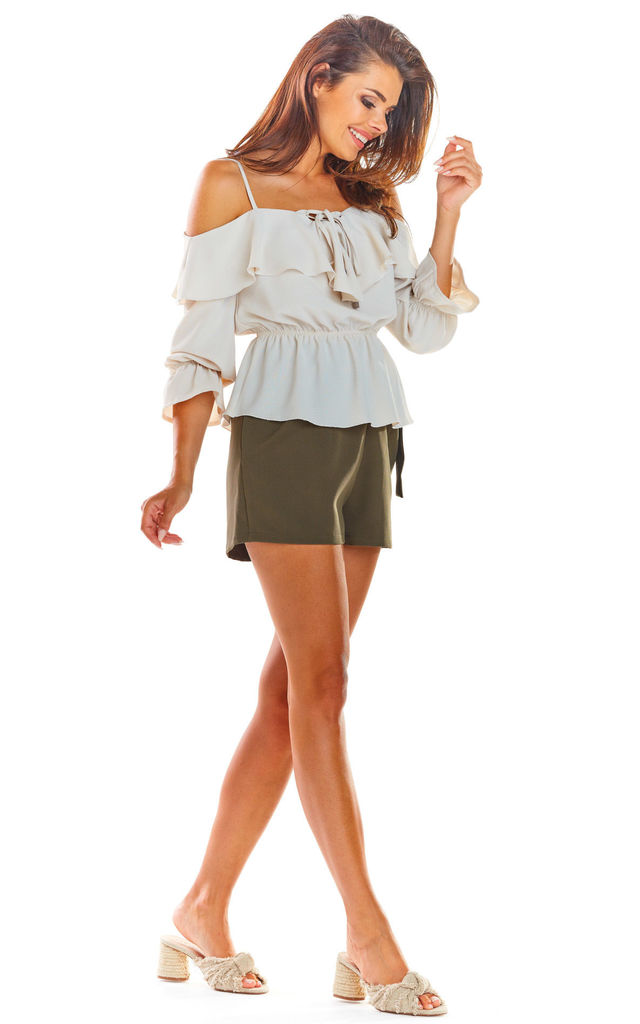 Cold Shoulder Top with Frill in Beige by AWAMA