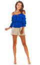 Cold Shoulder Top with Frill in Blue by AWAMA