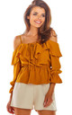Cold Shoulder Top with Frill in Carmel by AWAMA