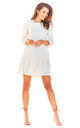 A-Line Mini Dress with 3/4 Sleeves in Beige by AWAMA
