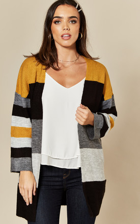 Oversized Cardigan In Yellow / Grey Stripe by JDY Product photo