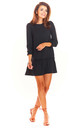A-Line Mini Dress with 3/4 Sleeves in Black by AWAMA