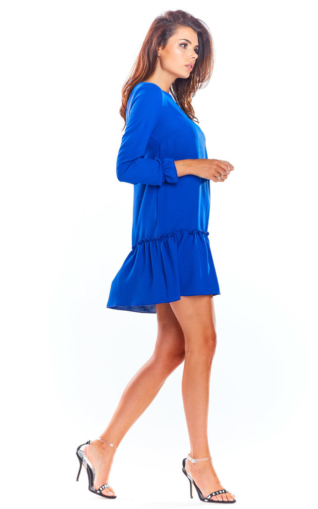 A-Line Mini Dress with 3/4 Sleeves in Blue by AWAMA