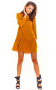 A-Line Mini Dress with 3/4 Sleeves in Caramel by AWAMA