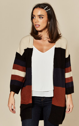 Oversized Cardigan In Navy / Burnt Orange Stripe by JDY Product photo