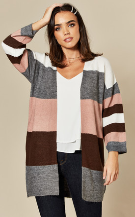 Oversized Cardigan In Pink / Grey Stripe by JDY Product photo