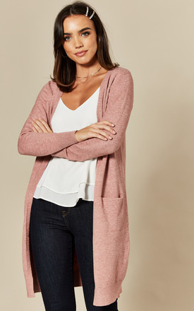 Longline Cardigan With Pockets In Pink by JDY Product photo