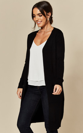 Longline Cardigan with Pockets in Black by JDY