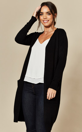 Longline Cardigan With Pockets In Black by JDY Product photo