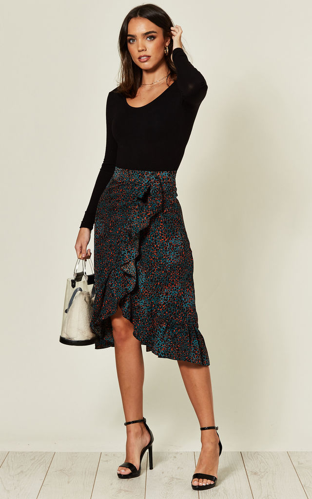 Frill Wrap Midi Skirt in Teal Leopard Print by MISSI LONDON