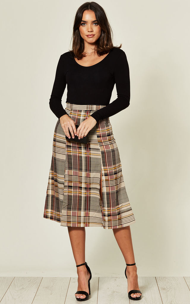 Midi Skirt with Split Sides in Brown Check by MISSI LONDON