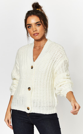Chunky Knit Cardigan In White by Noisy May Product photo