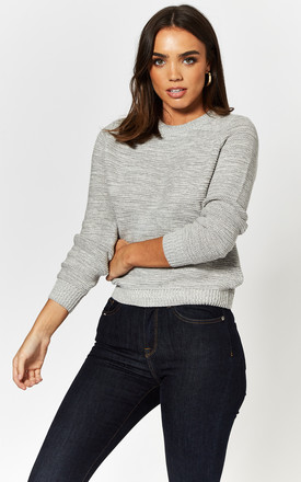 Round Neck Knitted Top in Light Grey by Noisy May