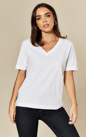 V NECK TEE in White by Selected Femme
