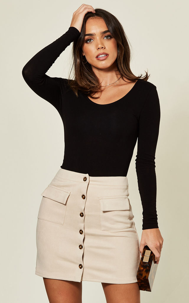 Button Front Faux Suede Skirt in Stone by Stardust + Steel